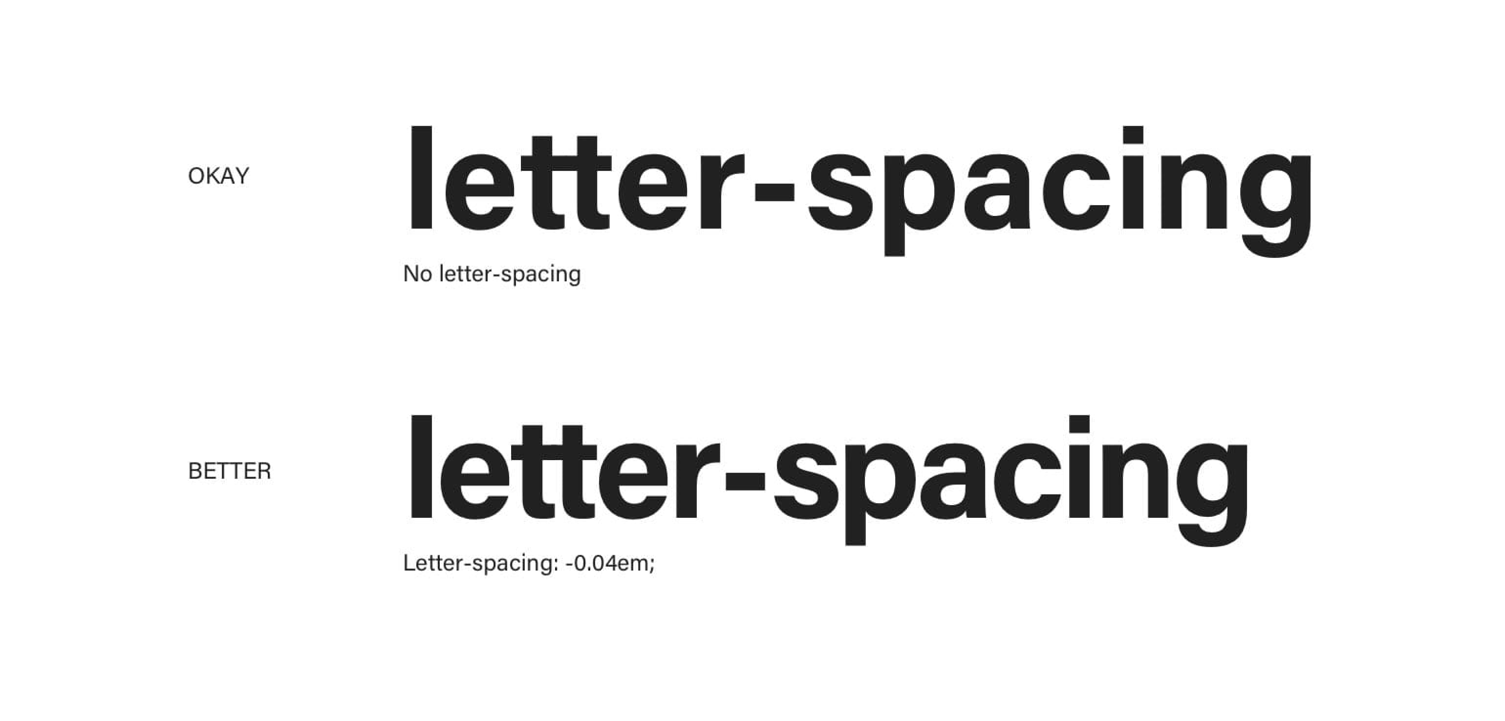 Applying negative letter spacing to headings makes them more compact and closer in appearance to the body type.